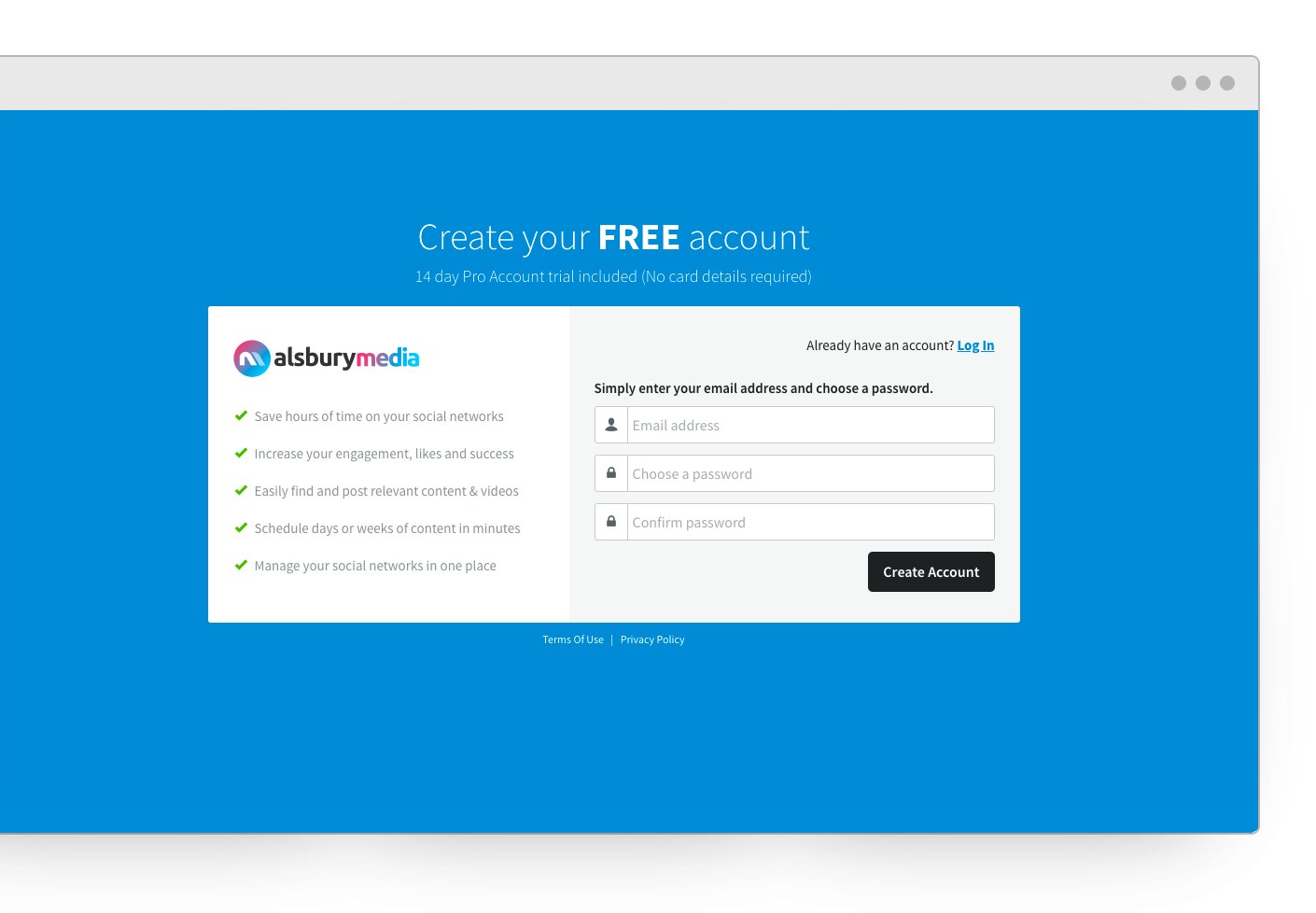 Social Media Management Tool Sign Up Screen